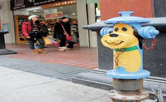 广西步行街引人注目的消防栓