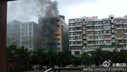 汕头龙湖实验中学对面一楼房火灾消防天下