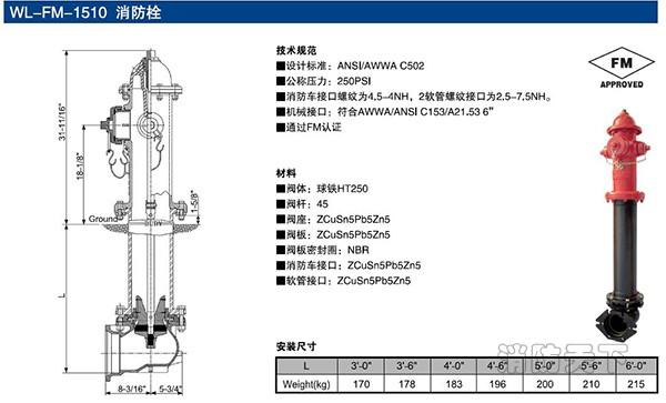 fm认证消防栓结构尺寸